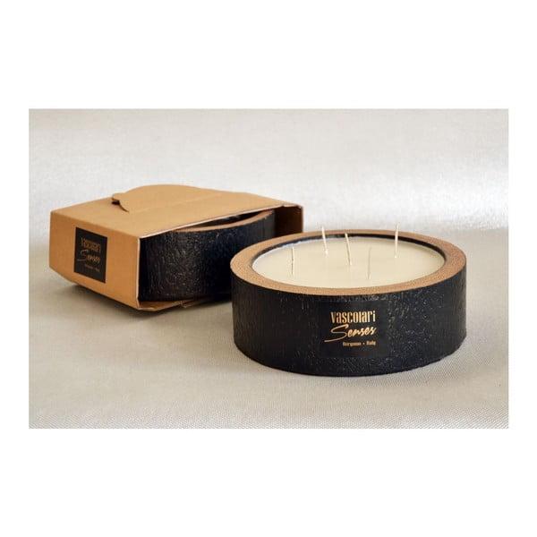 Palmowa świeczka Legno Black Wood o zapachu wanilii i paczuli, 80 godz.