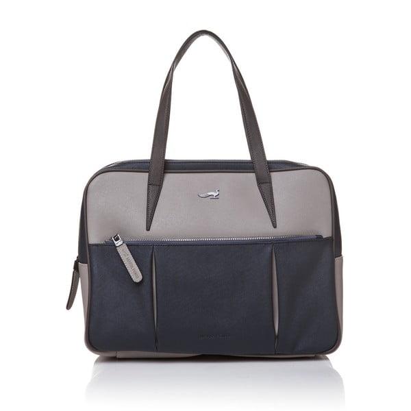 Skórzana torebka przez ramię Marta Ponti Negozio, szara/niebieska