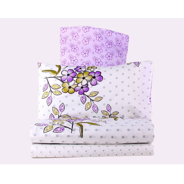 Fioletowa pościel z prześcieradłem na łóżko dwuosobowe Love Colors Polite, 200 x 220 cm