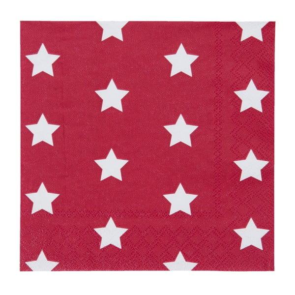 Czerwone serwetki Clayre & Eef Xmas Star, 20 szt.