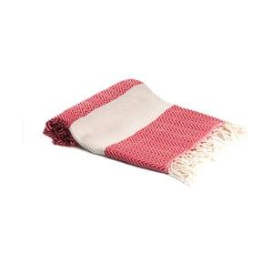 Czerwony ręcznik kąpielowy tkany ręcznie Ivy's Ayla, 95x180cm