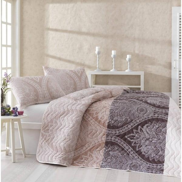 Narzuta na łóżko z poszewką na poduszkę Damask Brown, 160x220 cm