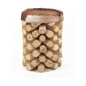 Stołek z drewna tekowego z siedziskiem z prawdziwej skóry Erosi