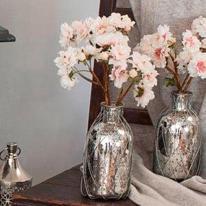 Szklany wazon ze sztucznymi kwiatami Blush, 34 cm