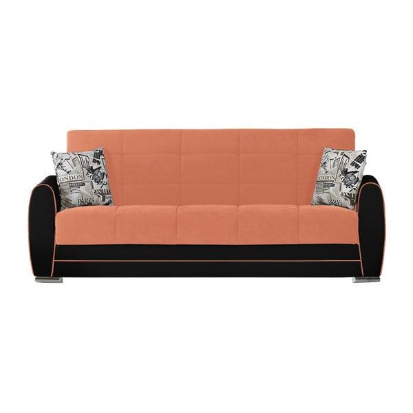 Ceglasta-czarna trzyosobowa sofa rozkładana ze schowkiem Esidra Rest