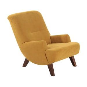 Żółty fotel z ciemnobrązowymi nogami Max Winzer Brandford Velor