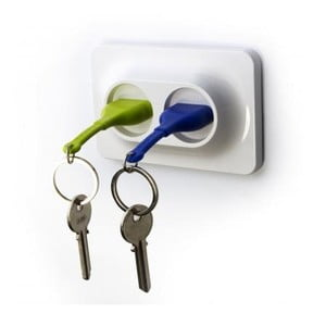 Uchwyt naścienny z zawieszkami na klucze QUALY Double Unplug, zielony/niebieski