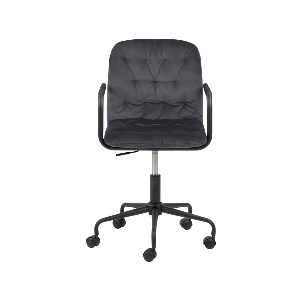 Ciemnoszare krzesło biurowe z aksamitnym obiciem Actona Wendy