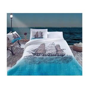 Komplet pościeli narzuty i poszewek na poduszki oraz prześcieradła Ship, 220x230 cm