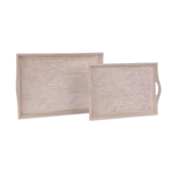 Zestaw 2 drewnianych tac White Beige