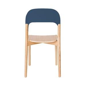 Krzesło z drewna dębowego z szaroniebieską opěrkou Harto Paula