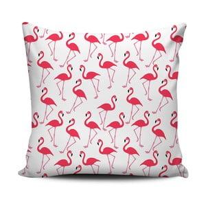 Różowo-biała poduszka Home de Bleu Pink Flamingos, 43x43cm