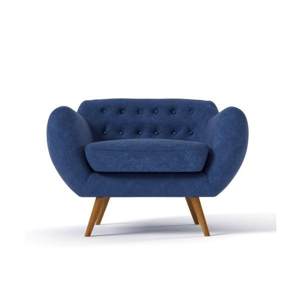 Fotel Indigo, granatowy z błękitnymi guzikami