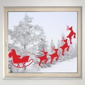 Elektrostatyczna naklejka Mikołaj w saniach