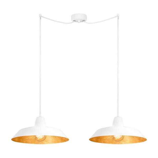 Podwójna  biało-złota lampa wisząca Bulb Attack Cinco