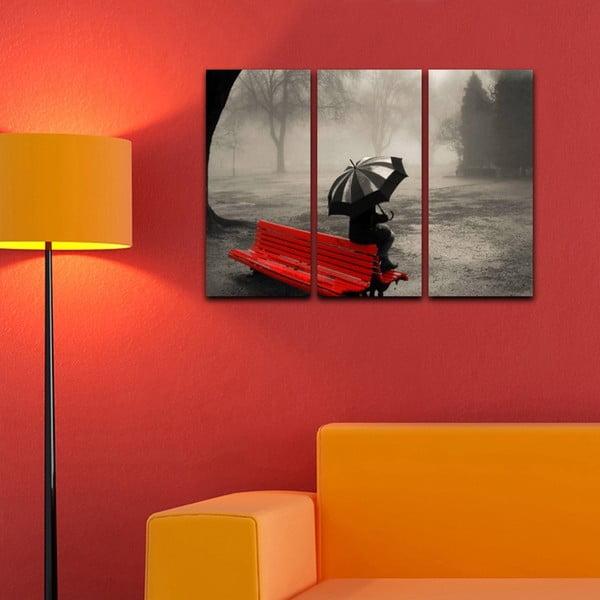 Trzyczęściowy obraz Samota w deszczu