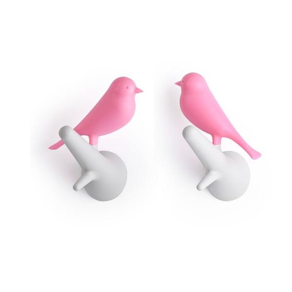 Wieszak naścienny QUALY Hook Sparrow, 2 szt., biało-różowy