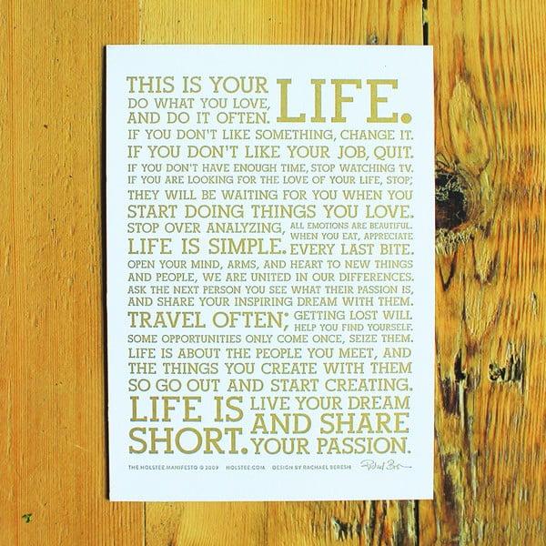 Plakat White Manifesto 13x18 cm, gold