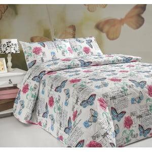 Pikowana narzuta i 2 poszewki na poduszki Carmen White, 200x220 cm