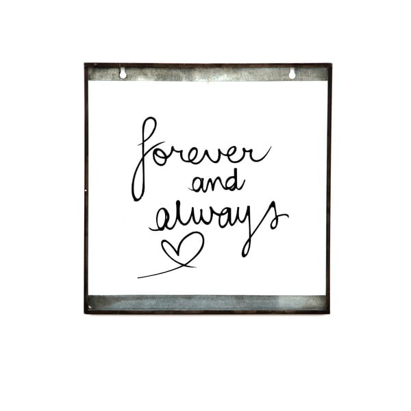 Szklana tabliczka z napisem Forever, 30x30 cm