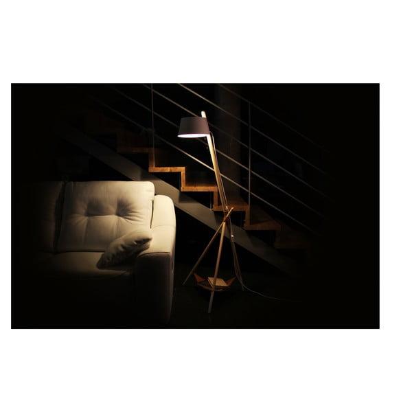 Biała lampa stojąca ze skórzaną półeczką Woodendot Ka M