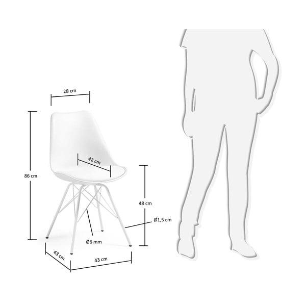 Białe   krzesło z metalowymi nogami La Forma Lars