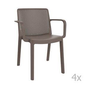 Zestaw 4 brązowych krzeseł ogrodowych z podłokietnikami Resol Fresh