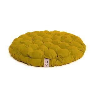 Musztardowa poduszka do siedzenia wypełniona piłeczkami do masażu Linda Vrňáková Bloom, Ø 65 cm