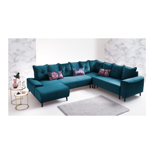 Niebieska sofa rozkładana z szezlongiem Bobochic Paris Hera, lewostronna