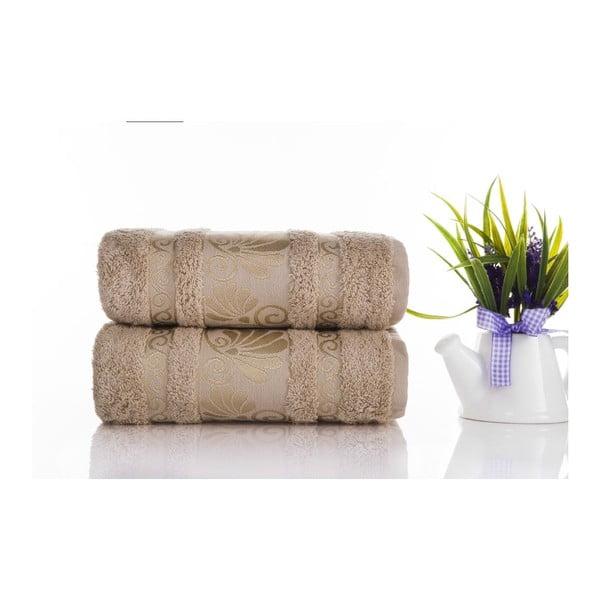 Zestaw 2 ręczników Carmen Light Brown, 50x90 cm