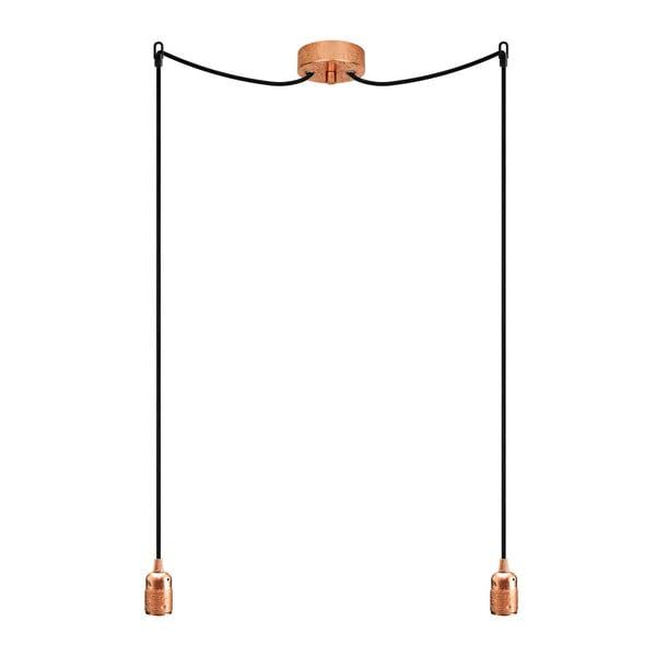 Lampa wisząca podwójna Uno, miedziany/czarny/miedziany
