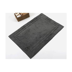 Czarny ręcznie tkany dywanik łazienkowy z bawełny premium Margot, 60x90 cm