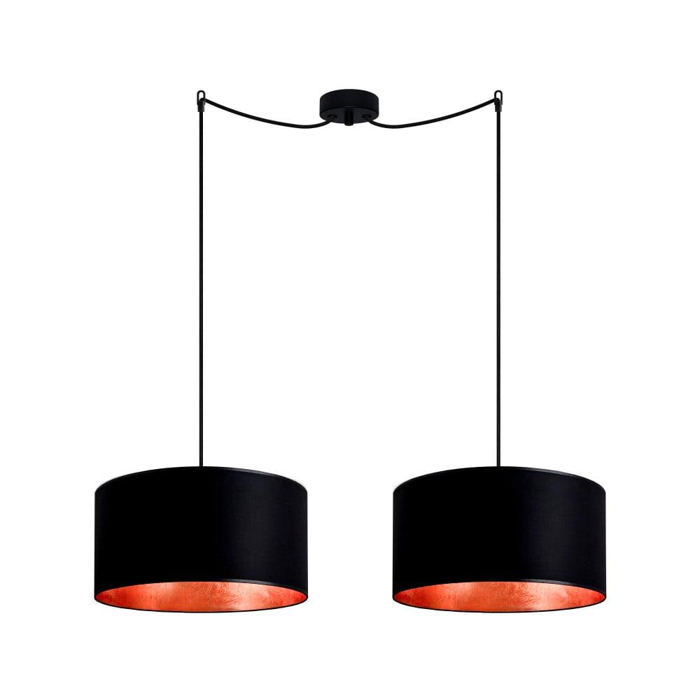 Czarna podwójna lampa wisząca z elementami w kolorze bronzu Sotto Luce MIKA Elementary