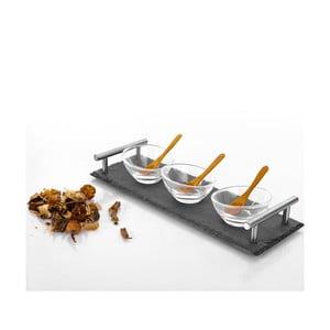 Zestaw 3 miseczek z łyżeczkami i tacki Bambum Poas, 30x10 cm