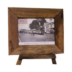 Ramka na zdjęcia z drewna tekowego HSM Collection Antique, 33 x 28 cm