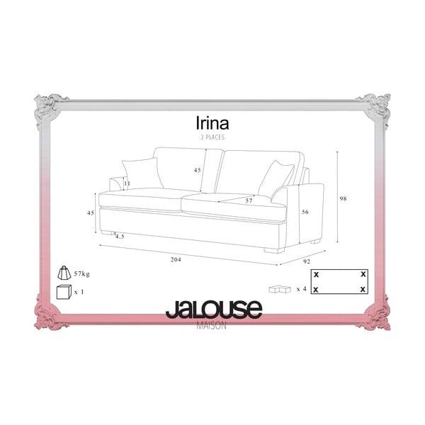Sofa trzyosobowa Jalouse Maison Irina, ciemnobrązowa