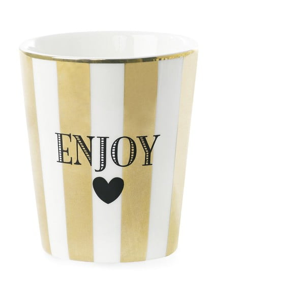 Kubek ceramiczny Miss Étoile Enjoy Stripe Gold