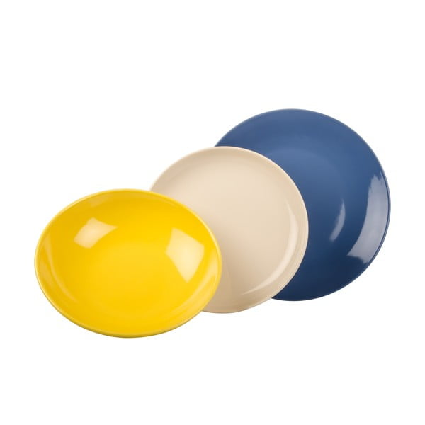 18-częściowy komplet talerzy Kaleidos, zółto-niebiesko-biały