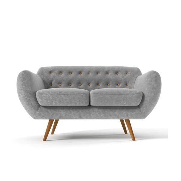 Dwuosobowa sofa Indigo, szara z żółtymi guzikami