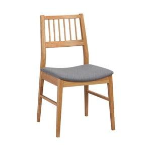 Naturalne krzesło dębowe z szarym siedziskiem Folke Hod