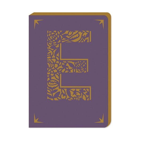 Notatnik w linie A6 z monogramem Portico Designs E, 160 str.