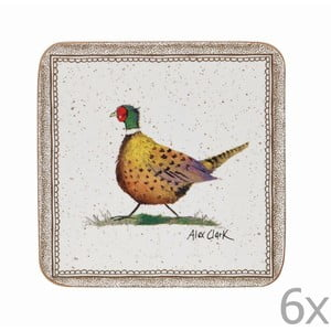 Zestaw 6 podstawek Churchill China Wildlife Pheasant, 10x10 cm