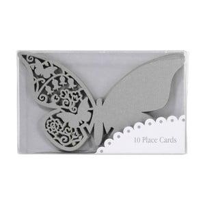 Komplet 10 znaczników/winietek Butterflies, srebrny