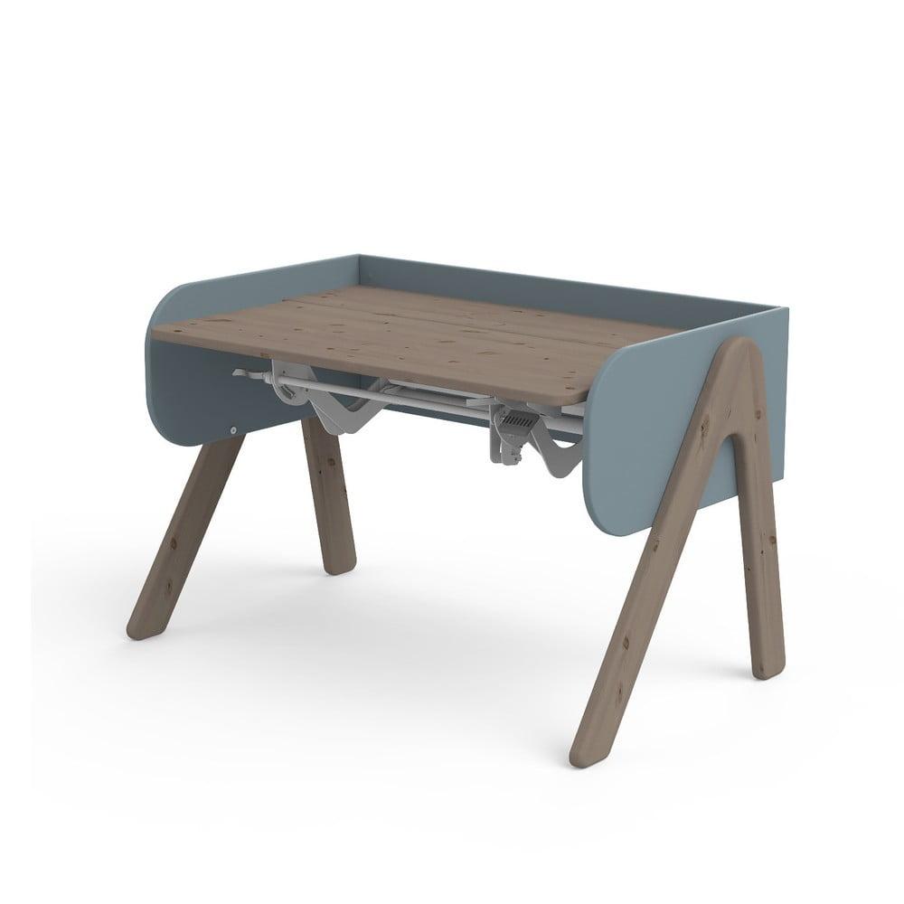 Ciemnobrązowo-niebieskie biurko z drewna sosnowego z regulacją wysokości Flexa Woody