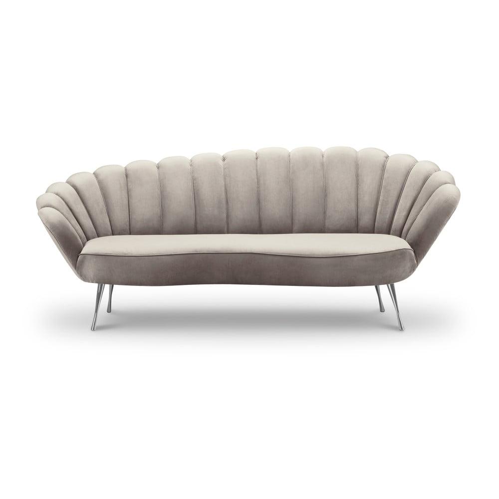 Beżowa asymetryczna sofa z aksamitnym obiciem Interieurs 86 Varenne, 224 cm