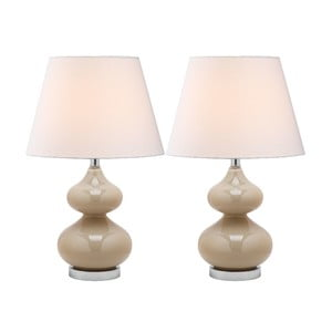 Zestaw 2 lamp stołowych z beżową podstawą Safavieh Gabriel