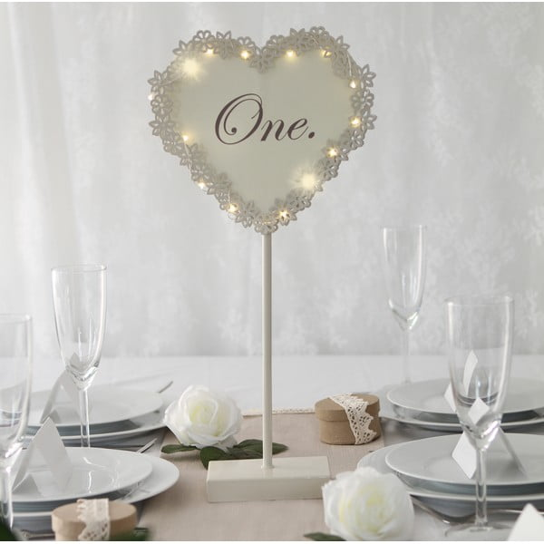 Dekoracja ślubna na stół z lampką LED One