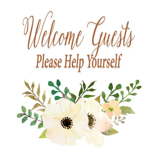 Plakat w drewnianej ramie Welcome guest, 38x28 cm
