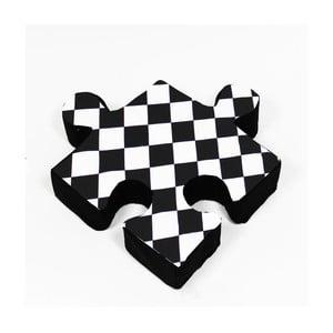 Černý polštářek Puzzle Rhomb