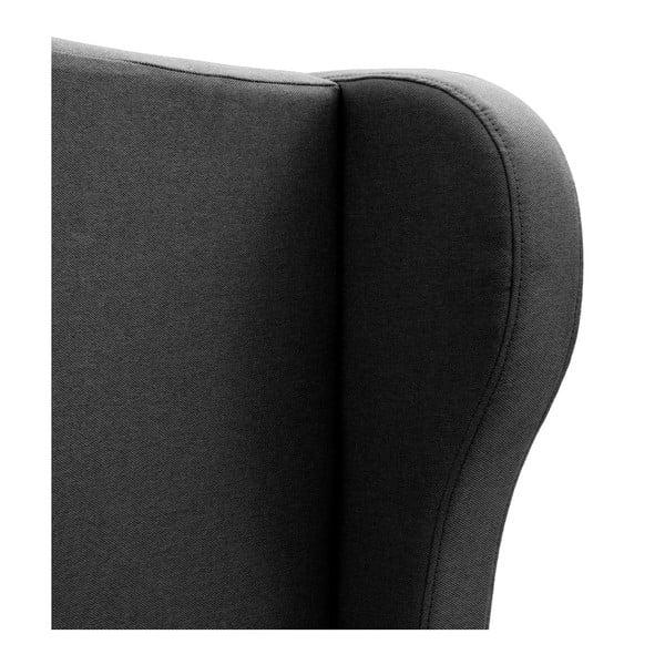 Czarne łóżko z naturalnymi nóżkami Vivonita Windsor, 180x200 cm
